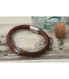 Кожаный браслет на магните Кусто Буск