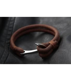 Кожаный браслет с якорем Кусто Скалат