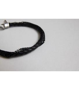 Кожаный браслет c цепочкой из черного золота Кусто Фурка