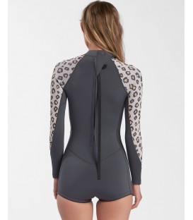 Billabong 2mm женский леопардовый гидрокостюм с рукавами